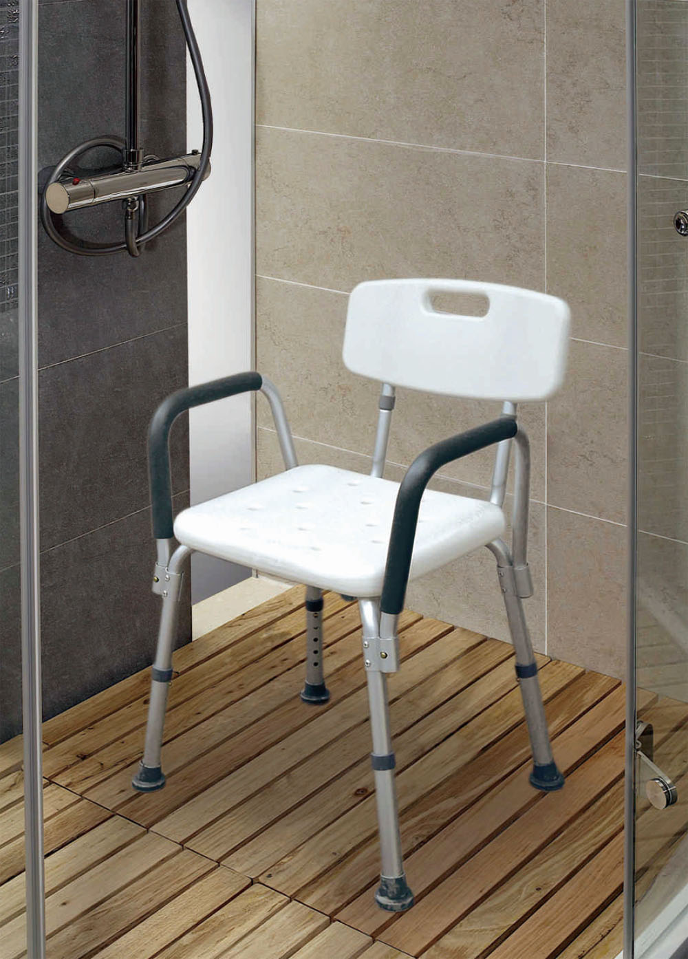 Legs adjustable bathroom shower chair with handle and for Bath wheelchair