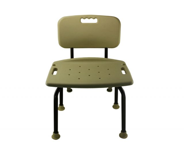 Tool-Free Bathroom Safety Shower Chair with Backrest - Classic Brown Series