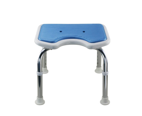 Tool-Free EVA Slip Soft Mat Legs Adjustable Bathroom Safety Shower Chair - Chrome Type A-0166B
