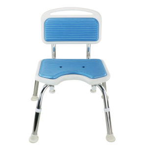 Tool-Free EVA Slip Soft Mat Legs Adjustable Bathroom Safety Shower Chair with Backrest - Chrome Type A-0167B