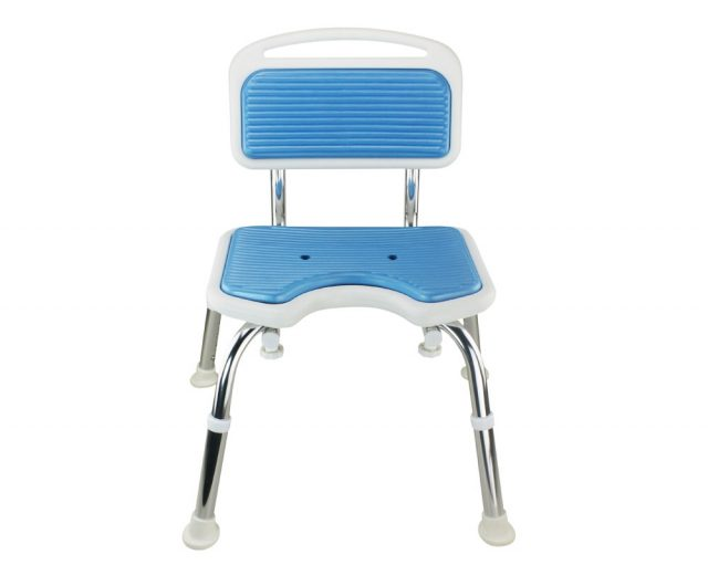 Tool-Free EVA Slip Soft Mat Legs Adjustable Bathroom Safety Shower Chair with Backrest - Chrome Type A-0167B