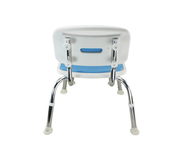 Tool-Free EVA Slip Soft Mat Legs Adjustable Bathroom Safety Shower Chair with Backrest - Chrome Type A-0167B Back