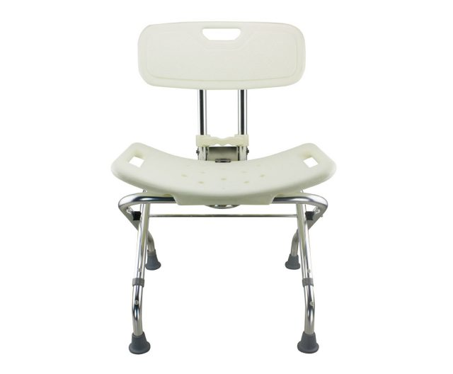 Tool-Free Foldable Legs Adjustable Bathroom Safety Shower Chair with Backrest – Chrome Type A-0123B