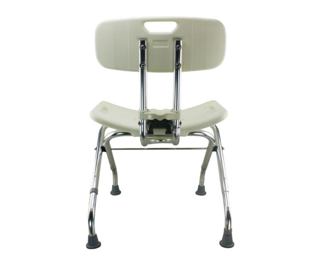 Tool-Free Foldable Legs Adjustable Bathroom Safety Shower Chair with Backrest – Chrome Type A-0123B Back