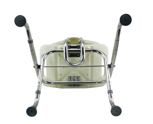 Tool-Free Foldable Legs Adjustable Bathroom Safety Shower Chair with Backrest – Chrome Type A-0123B Bottom