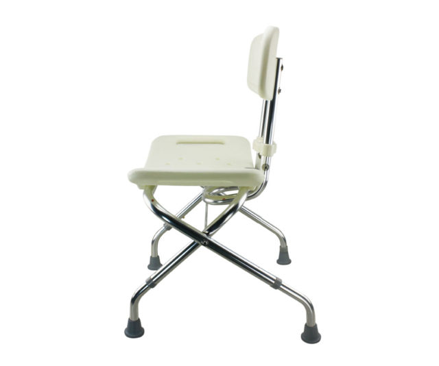 Tool-Free Foldable Legs Adjustable Bathroom Safety Shower Chair with Backrest – Chrome Type A-0123B Side