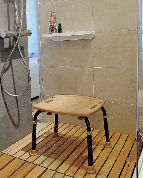 Tool-Free Legs Adjustable Bathroom Shower Chair - Classic Brown ...