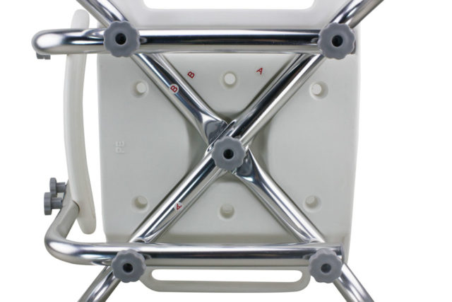 TTool-Free Legs Adjustable Bathroom Safety Shower Chair with Backrest - Chrome Type A-0143A Tool Free