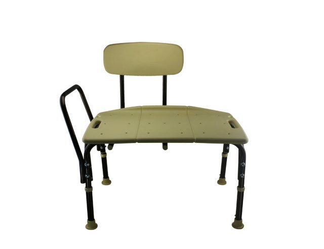 Tool-Free Legs Adjustable Bathroom Safety Shower and Bath Transfer Chair with Backrest - Classic Brown Series A-0168C