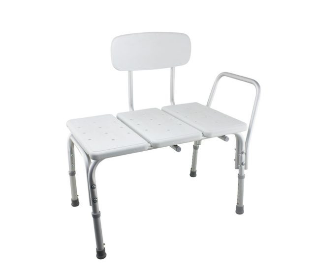 Tool-Free Legs Adjustable Bathroom Shower and Bath Transfer Chair with Backrest A-0168B Side