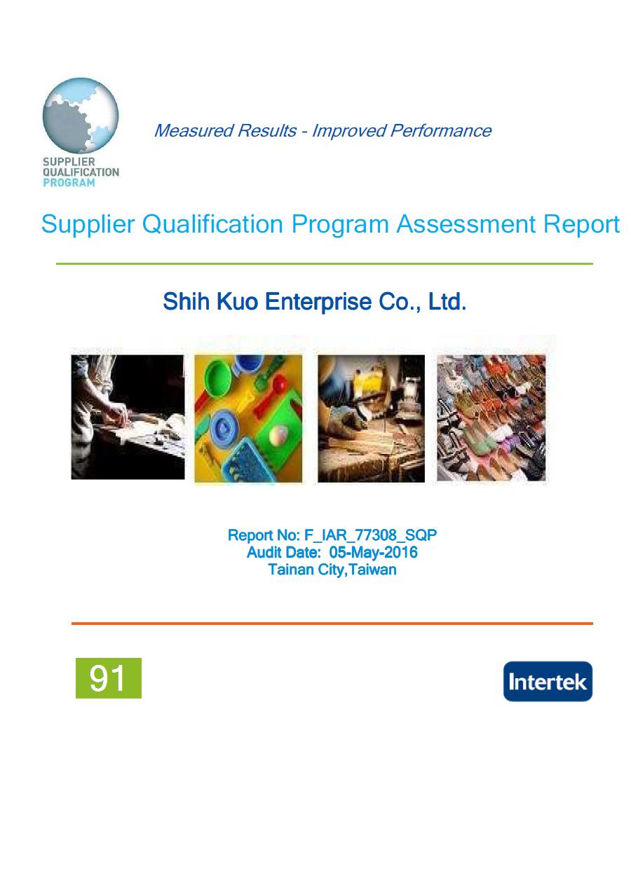 Shih Kuo Enterprise Co., Ltd Facility Performance Rating by Intertek Audit