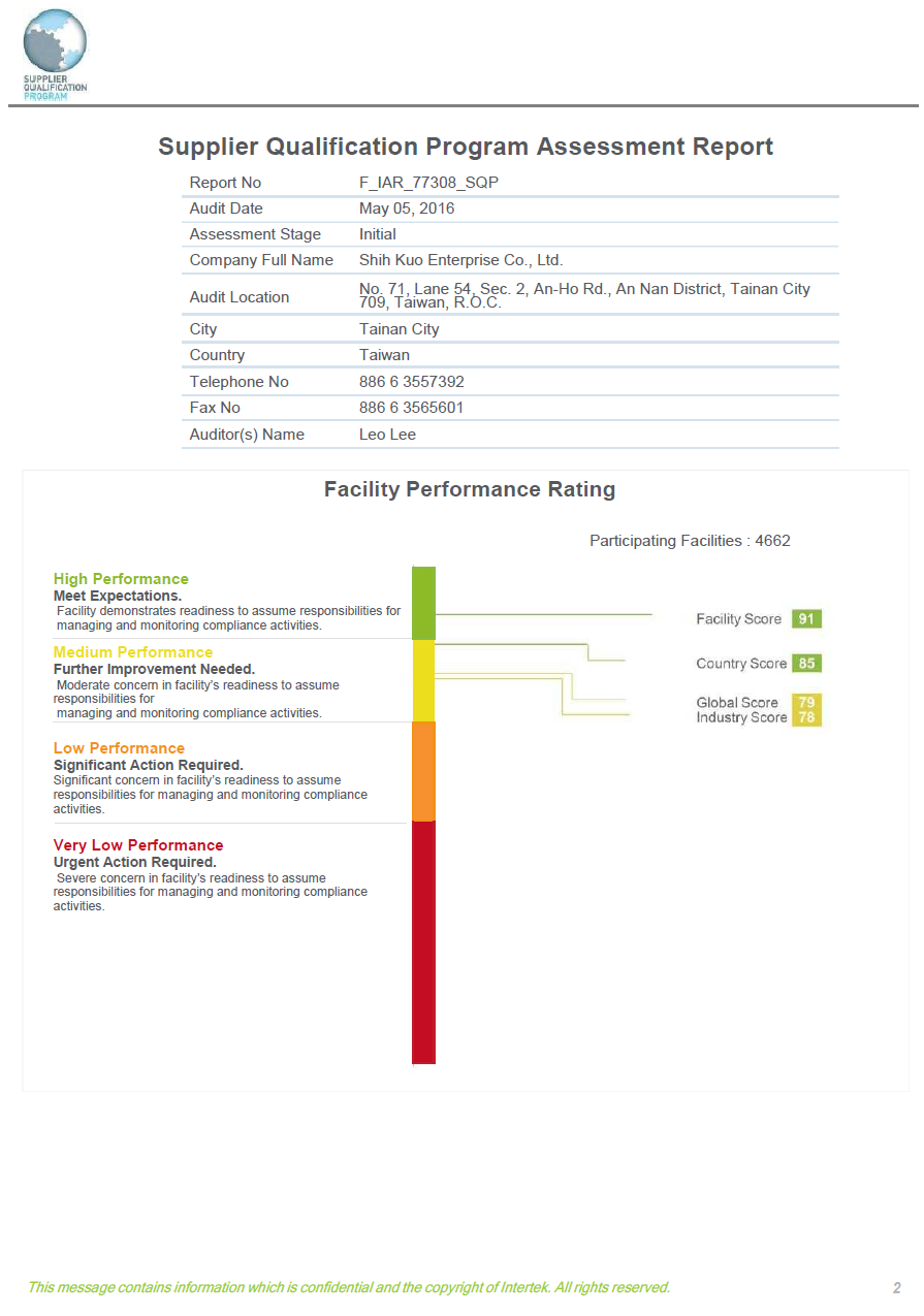 Shih Kuo Enterprise Co., Ltd Facility Performance Rating by Intertek Audit