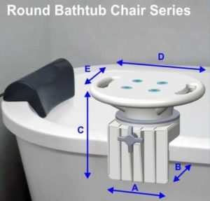 Multi-Functional Rotating Bathtub Seat Assisting Handle A-0151F Dimension